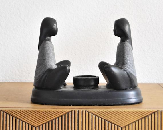 modern minimalist black sitting lady sculpture votive candleholder / woman girl figurine