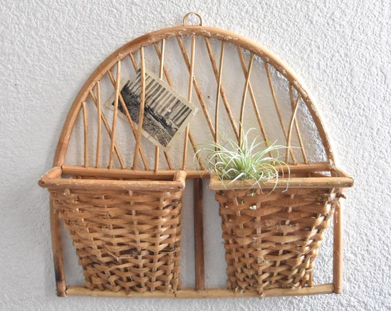mid century woven wall hanging file mail storage basket