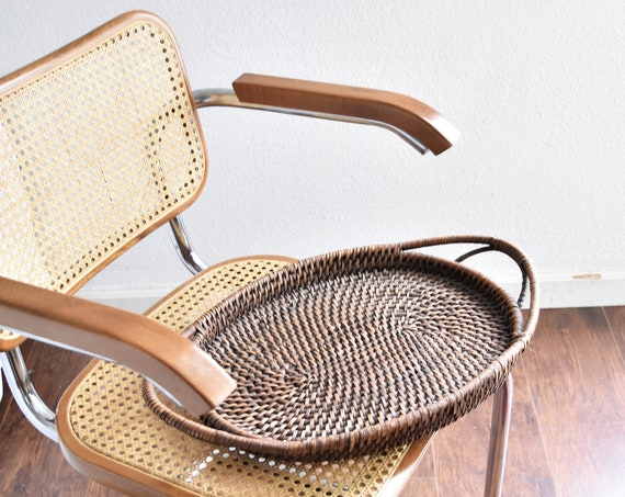 large oval woven rattan wood basket table tray with handles / farmhouse decor