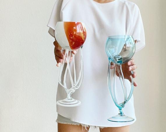 white orange polish jozefina krosna style art glass hand blown candleholder