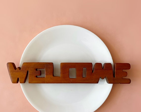 vintage solid wood carved welcome sign