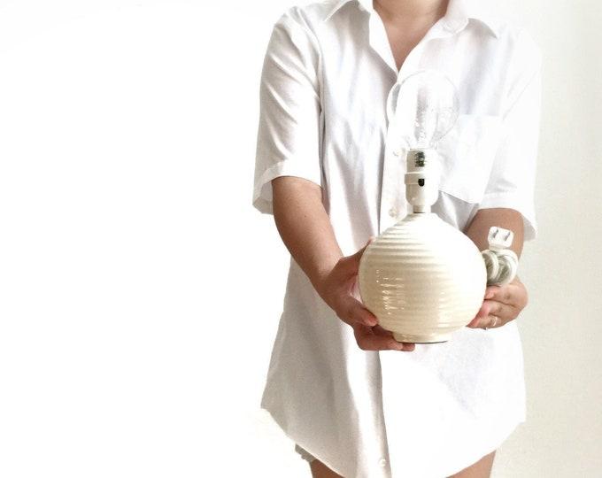 1990s white ball table lamp / ceramic orb light