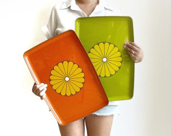 set of 2 bright yellow melamine plastic serving trays