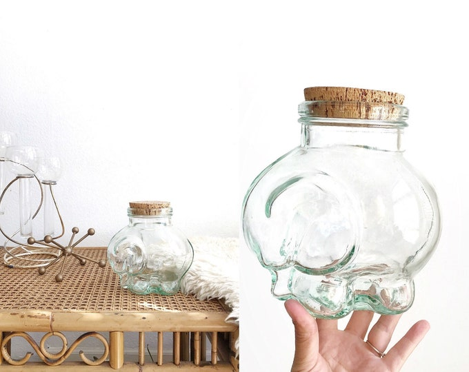 thick glass elephant figurine cookie jar with cork lid | kitchen canister