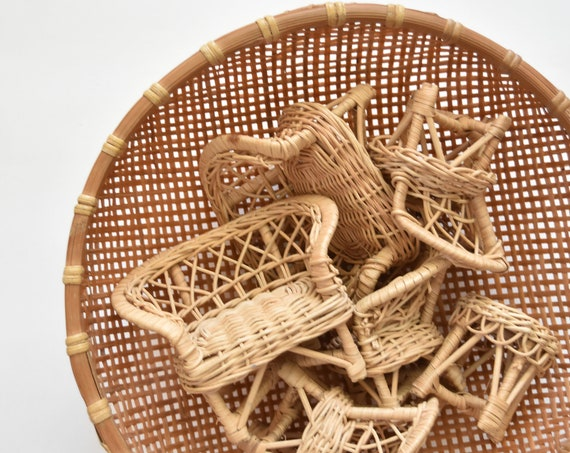 mini wicker peacock chair planter / sofa plant stand / doll chair / boho chic / 1 chair