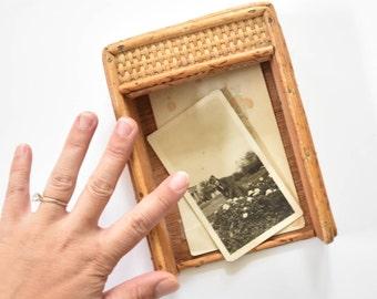 mid century office woven rattan note pad holder / desk top storage