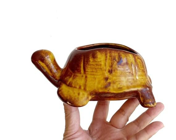 lifesize vintage 1970s ceramic mustard yellow  turtle basket planter | flower pot
