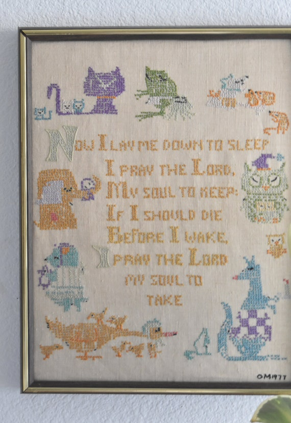 religious cross stitch crewel animal prayer art / framed picture / needlepoint / wall hanging