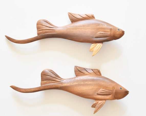 pair of wall hanging hand carved wooden fish sculpture figurines \ under the sea beach house decor