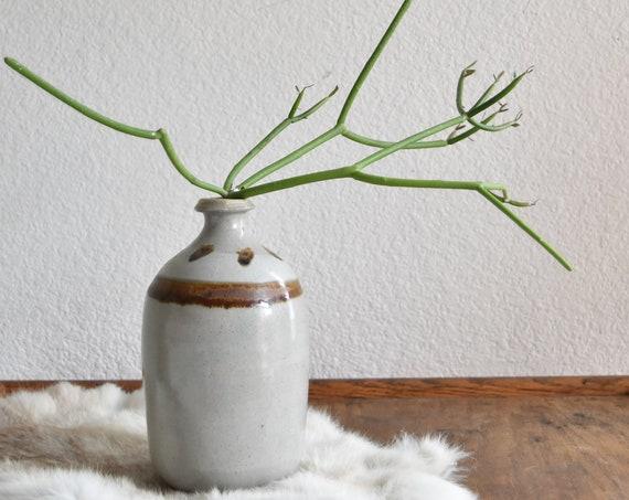 stoneware earth tone studio pottery flower vase / bud starter