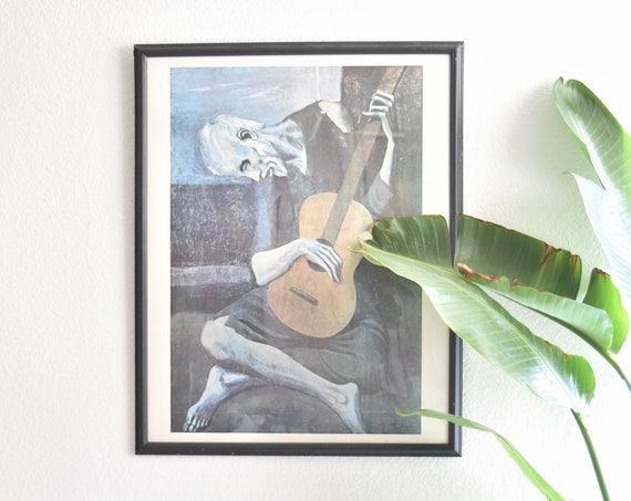 vintage framed pablo picasso the old guitarist man print painting