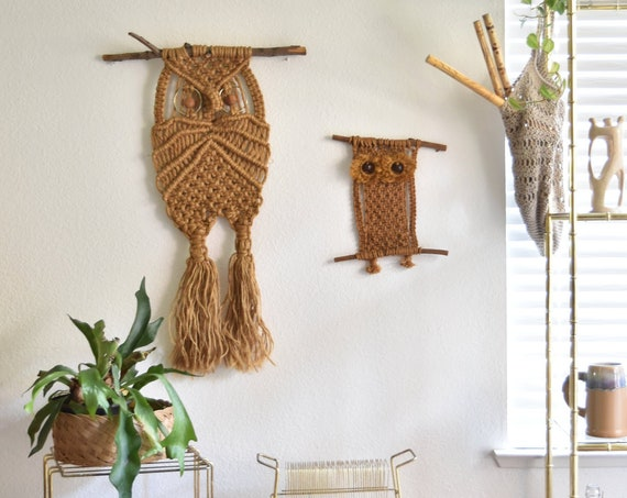 large vintage beige tan wall hanging woven jute macrame owl / boho wall decor