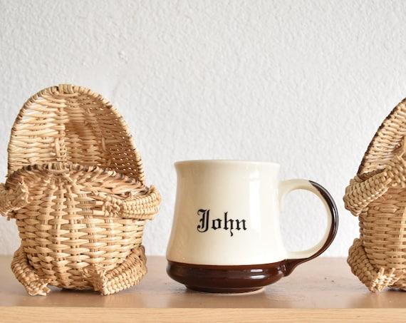 vintage white ceramic john coffee mug | name drinking cup