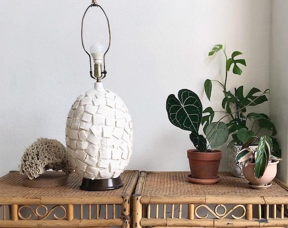 unique white mid century modern textured table lamp / ceramic orb light