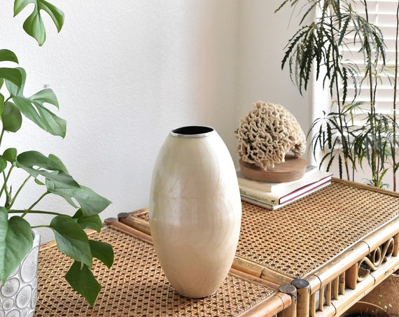vintage metal handpainted pearl flower vase | boho housewarming gift
