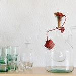 vintage 50s italian clear green glass decanter / italian blown glass / apothecary jar / ice chamber