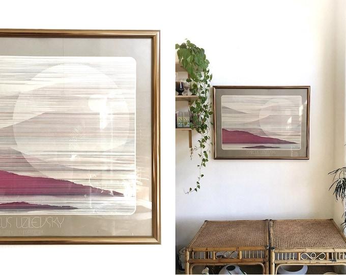 1980s framed Marcus Uzilevsky litho print mountain and sky line print