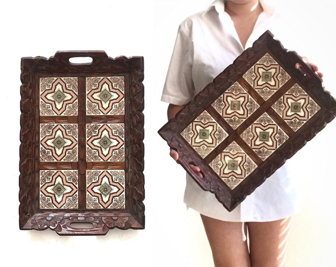 pink mosaic carved solid wood tile moroccan rectangular serving tray