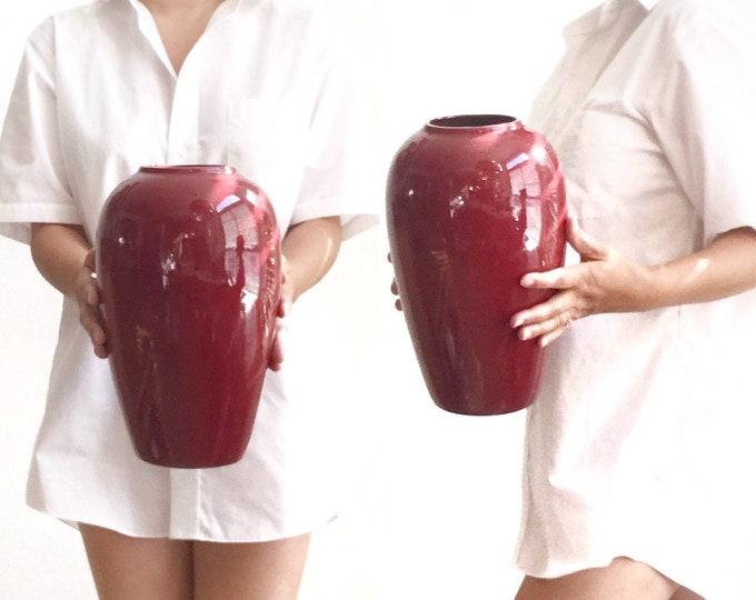 large modernist 80s red burgundy ceramic pottery flower vase | modern haeger style pot