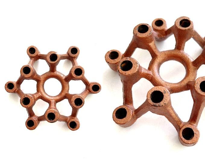 atomic mid century modern metal candleholder / taper candles / candlestick holders / candelabra