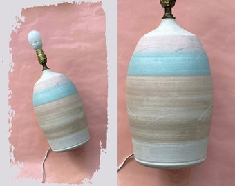 etched striped pastel pink blue dry clay table lamp