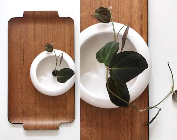 vintage shallow white ceramic planter flower pot | single vase