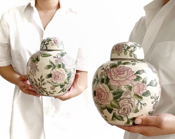 hand painted 1980s raised flower chinese porcelain pink ginger ceramic vase with lid
