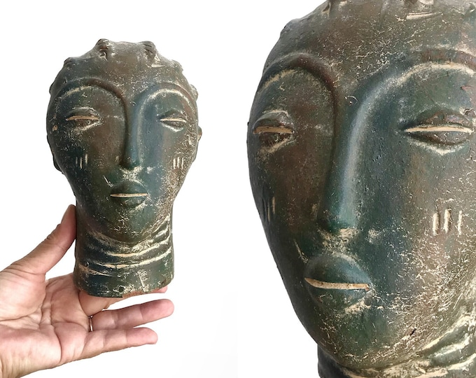 unique clay african woman head sculpture | tribal art pottery