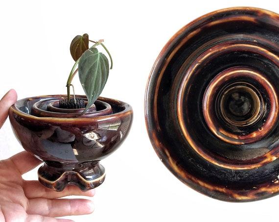 brown hand thrown stoneware glazed bud vase | taper candlestick holder