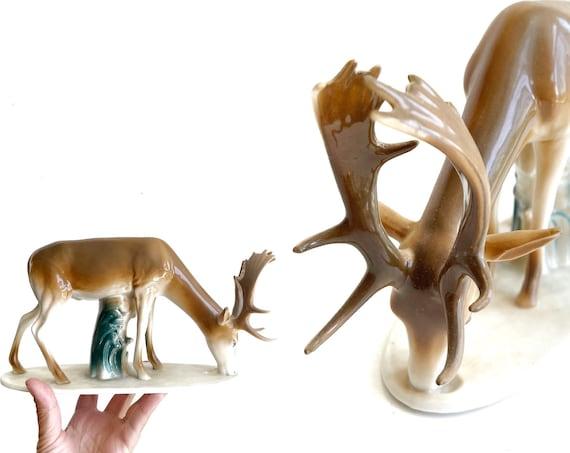 crown regal porcelain reindeer figurines / deer, fawn, stag, antlers decor