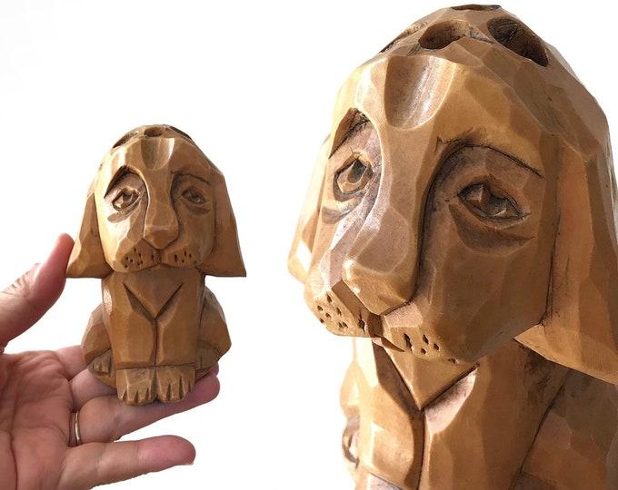 vintage hand carved puppy dog figurine pencil holder | dog lover gift