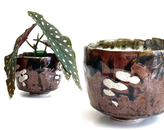 asymmetrical earthy brown stoneware pottery flower vase bowl