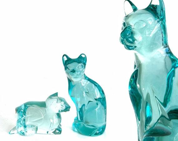 murano hand blown torque blue glass cat figurine | feline sculpture