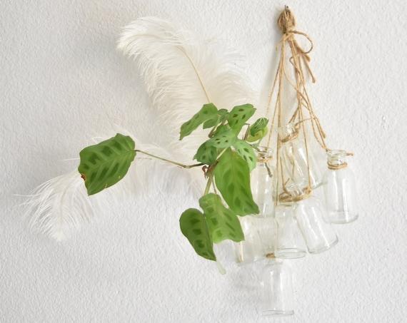 string of hanging clear glass bottle flower vases | bud vase propagating station | one set