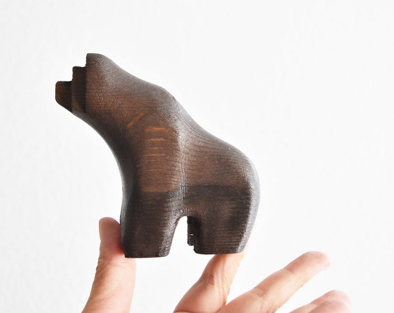 minimalist mid century modern danish carved wood bear figurine sculpture | swedish brown bear