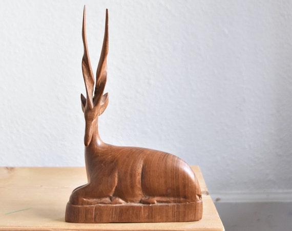 mid century hand carved solid wood gazelle figurine sculpture / deer antler statue