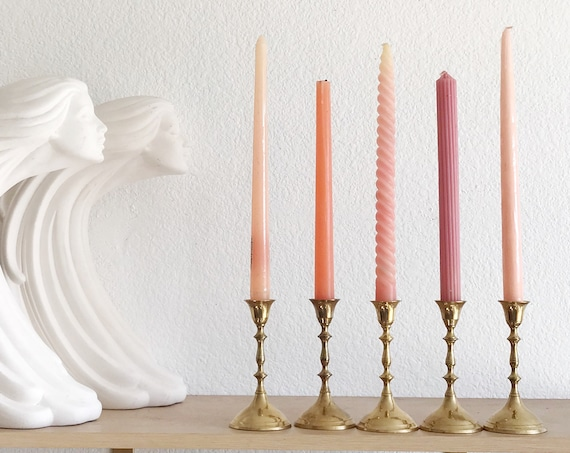 vintage solid brass tulip candle holder votives with candles / set of 5