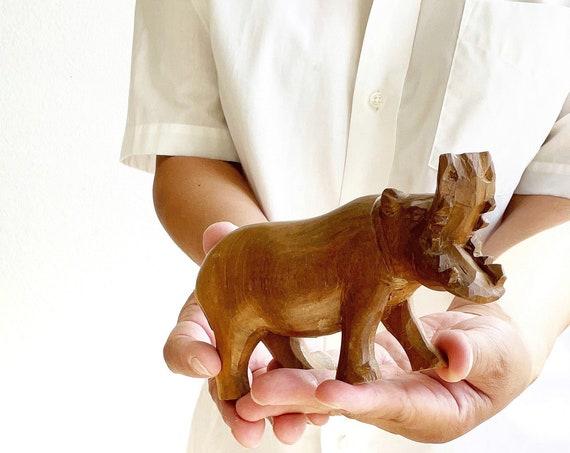 hand carved wooden hippopotamus figurine | hippo sculpture