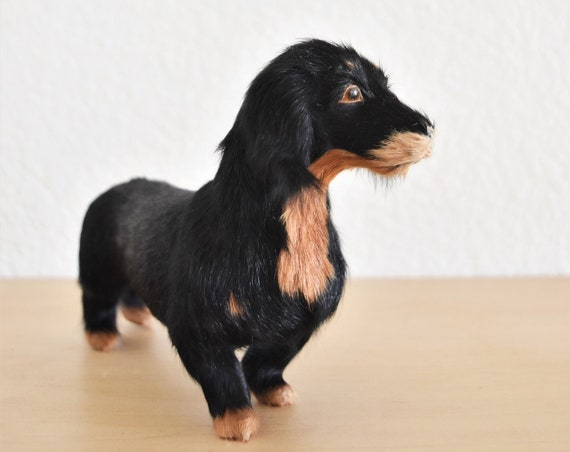 collectible real animal hair stuffed miniature weiner dog figurine / daschund / furry doggie doxie