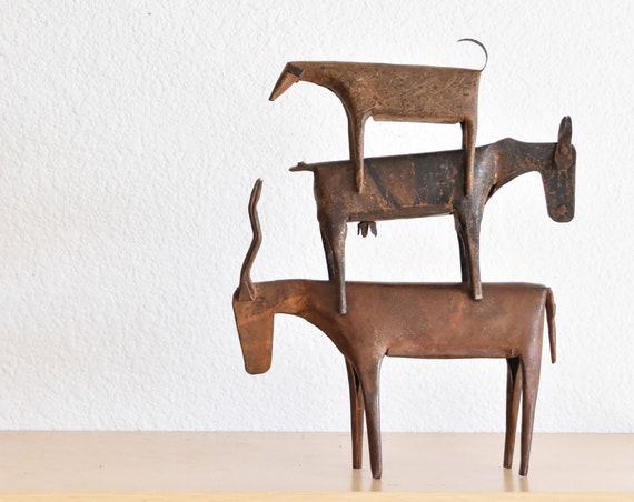 rustic handmade recycled old metal farm animal figurine sculpture art | set of 3