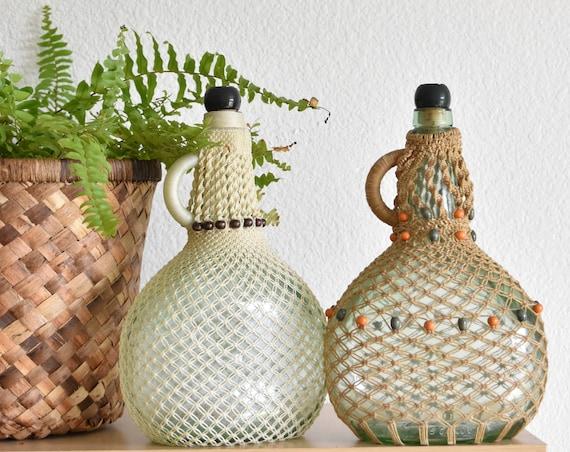 vintage woven macrame wine liquor bottle decanter / glass jug / flower vase
