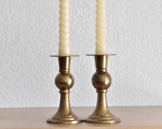 ornate solid brass candlestick holders / candleholder set