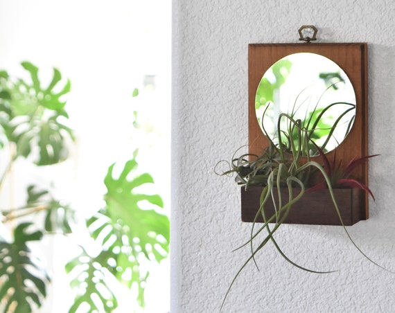 small vintage wooden bohemian wall hanging mirror planter | wall shelf curio box | airplant holder
