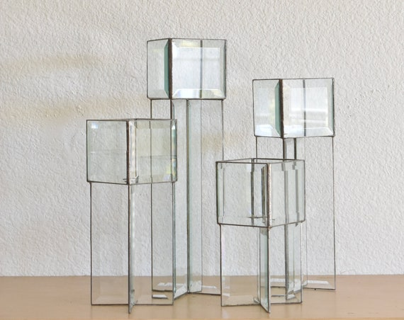 vintage modern beveled geometric glass box candleholder sculpture / terrarium collection / candleholder centerpiece