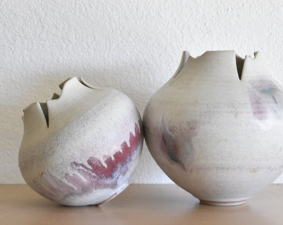 pair of asymmetrical pink purple stoneware flower pots / pottery vases