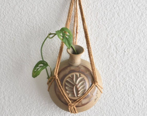 wall hanging woven clay pottery  flower vase \decorative etched water pitcher