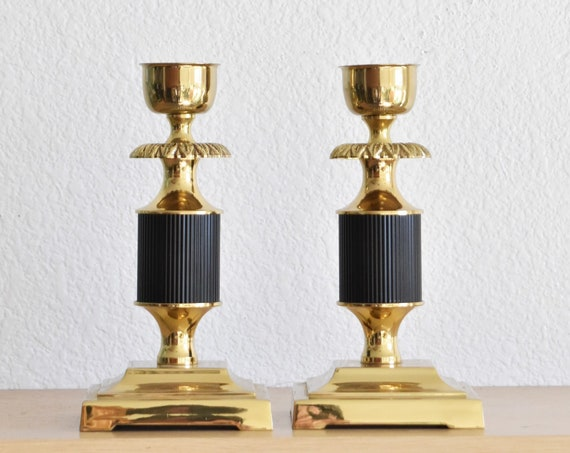 pair of ornate hollywood regency black brass candlestick holders from portugal | set of 2