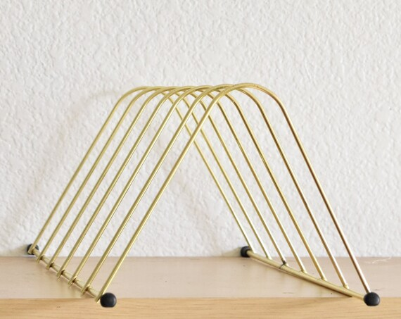 mid century modern gold metal desk record magazine file holder/ retro storage
