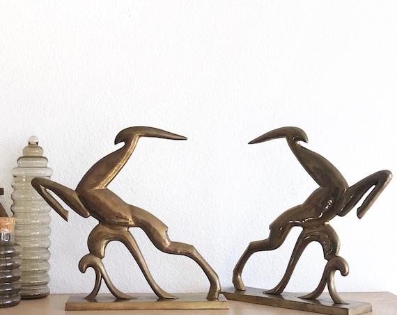 large modernist solid brass art deco gazelle deer sculpture   set of 2