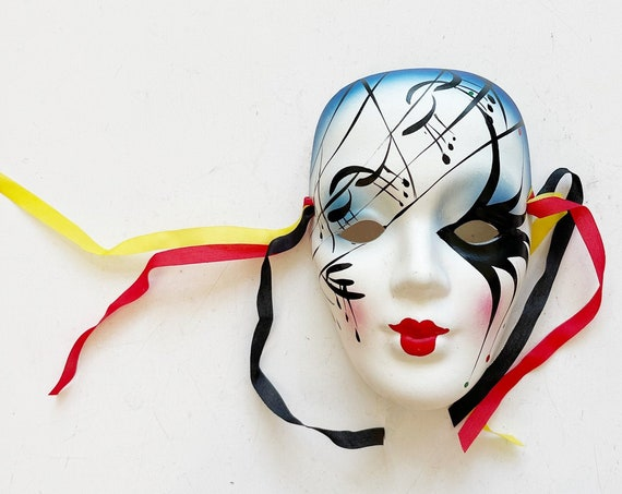 1990s small hand painted venetian woman clown face mask sculpture | opera wall hanging mask